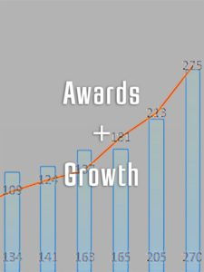 "Graphic image of a chart with words ""Awards and Growth"""